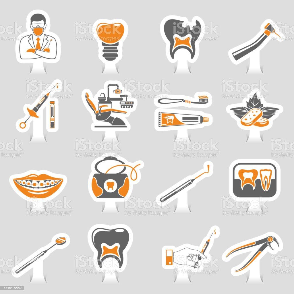 Dental Services sticker two color Sticker Icons Set vector art illustration