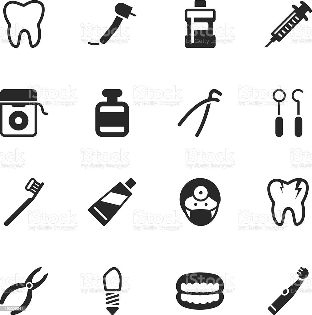 Dental Silhouette Icons royalty-free stock vector art
