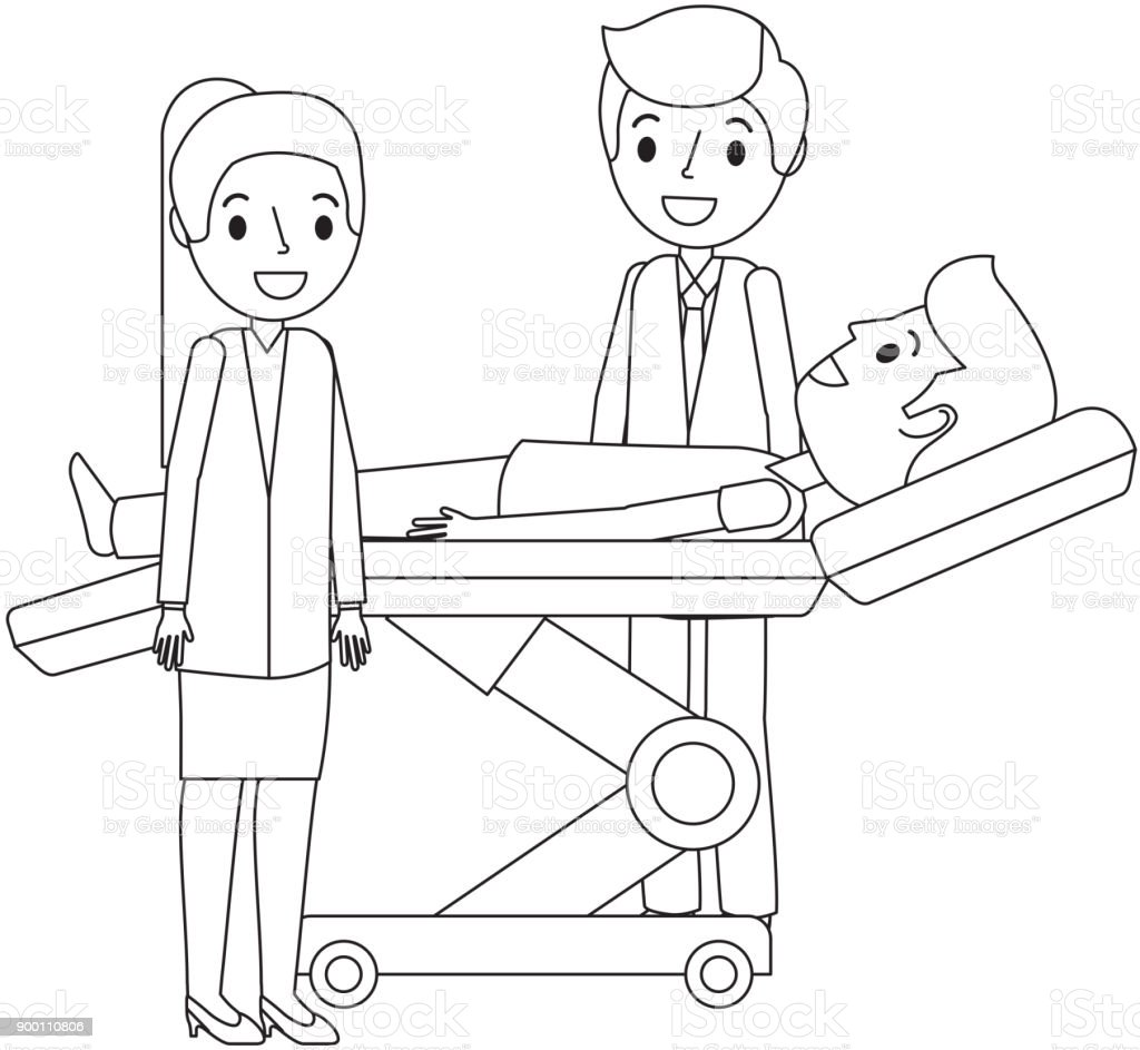 dental stretcher with patient and professional medical vector art illustration