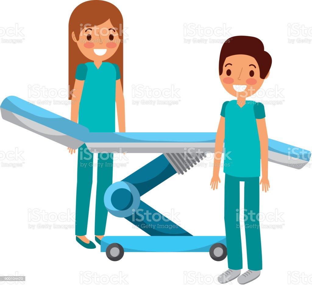 dental stretcher with professional medical vector art illustration
