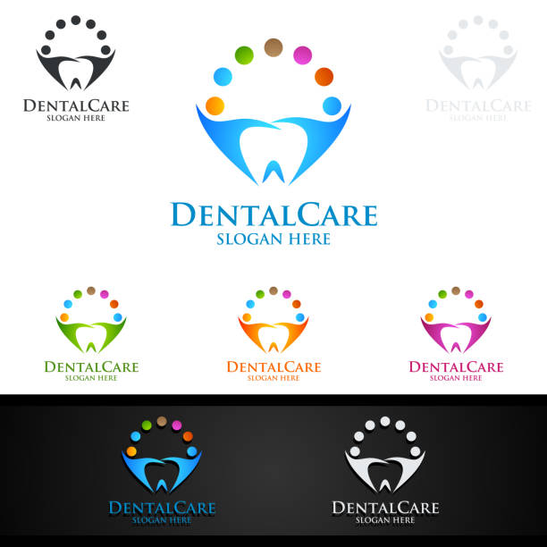 illustrations, cliparts, dessins animés et icônes de symbole dentaire, stomatologie dentiste symbole design - orthodontiste