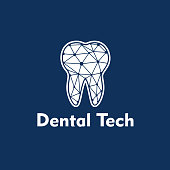 Dental Tech Logo on blue background.Vector illustration