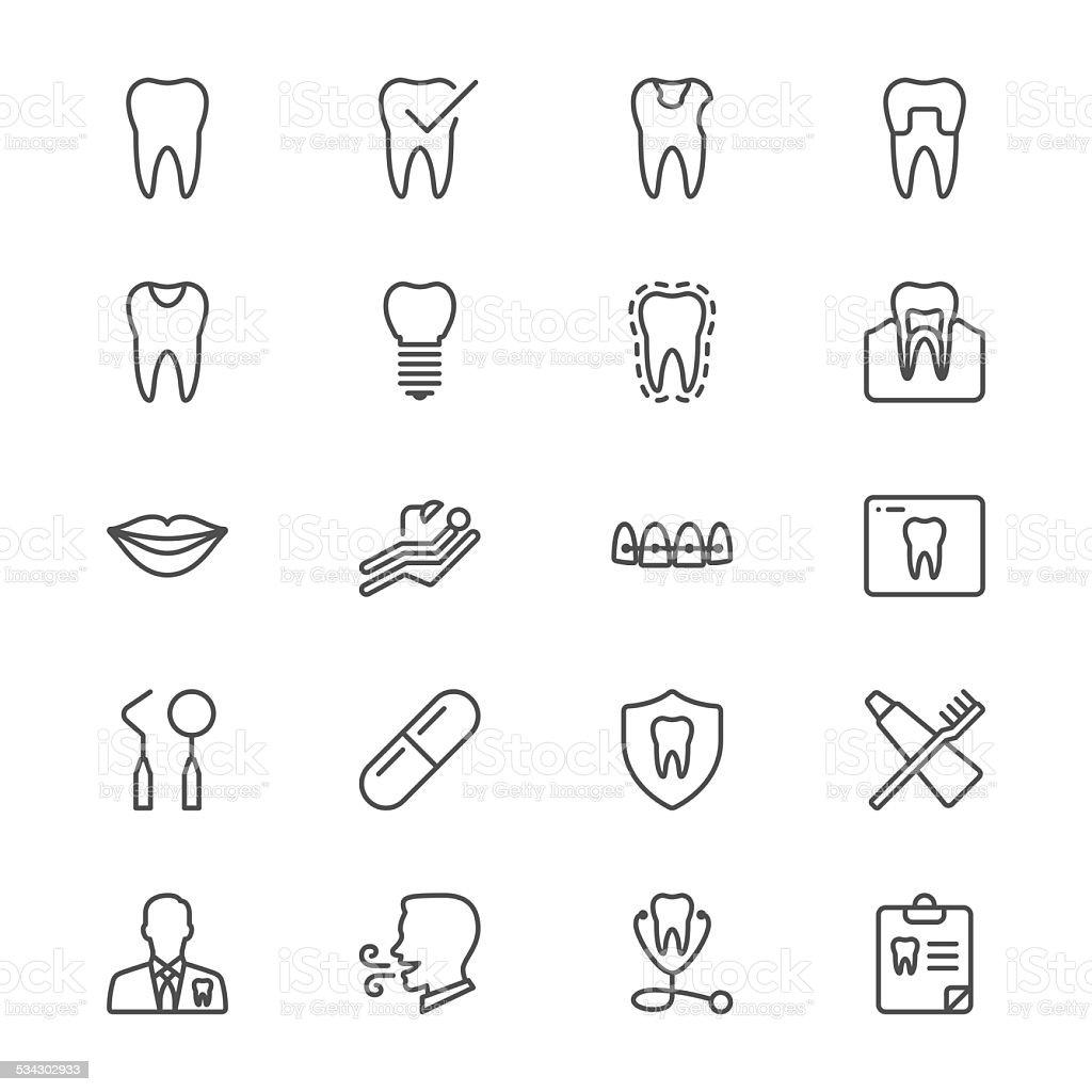 Dental thin icons vector art illustration