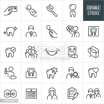 A set of dental icons in outline format. The EPS vector file provided editable strokes or outlines. The icons include a dentist, hand holding prescription card, patient in dentist chair, toothbrush with toothpaste on it, tooth receiving a crown, clean molar tooth, male dentist, dental tools, dentist holding x-ray of teeth, tooth x-ray, dental checkup, family, smile, teeth, medication, floss, dental floss, teeth and gums, person at sink brushing teeth, damaged tooth, tooth decay, cavity, dentist search, tooth care, braces, calendar appointment, dental assistant, checklist and a dentist and a dental assistant standing side by side.