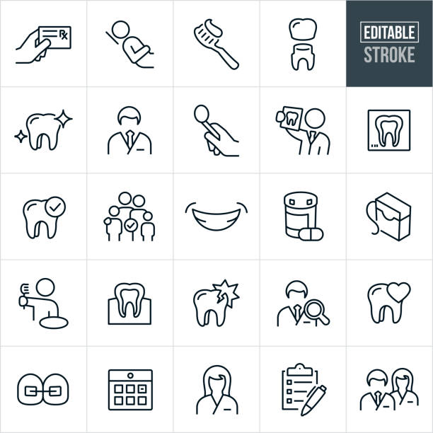 Dental Thin Line Icons - Editable Stroke A set of dental icons in outline format. The EPS vector file provided editable strokes or outlines. The icons include a dentist, hand holding prescription card, patient in dentist chair, toothbrush with toothpaste on it, tooth receiving a crown, clean molar tooth, male dentist, dental tools, dentist holding x-ray of teeth, tooth x-ray, dental checkup, family, smile, teeth, medication, floss, dental floss, teeth and gums, person at sink brushing teeth, damaged tooth, tooth decay, cavity, dentist search, tooth care, braces, calendar appointment, dental assistant, checklist and a dentist and a dental assistant standing side by side. dentist stock illustrations