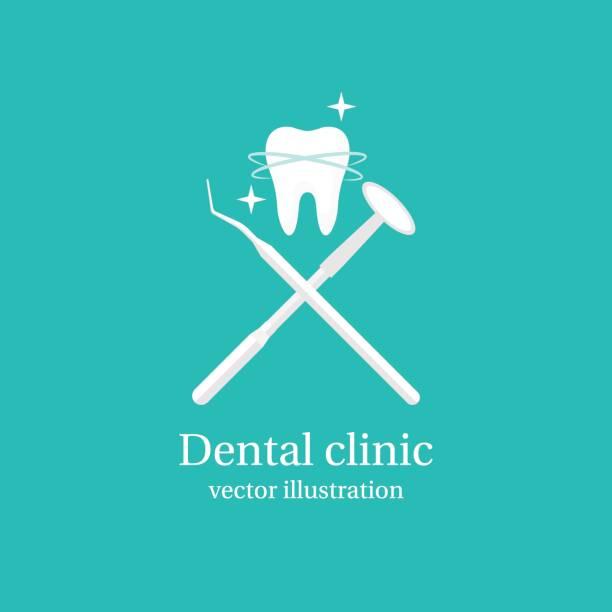 ilustraciones, imágenes clip art, dibujos animados e iconos de stock de icono de herramientas dentales. - logos de dentista