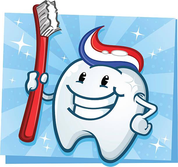 bildbanksillustrationer, clip art samt tecknat material och ikoner med dental tooth mascot - tandsten