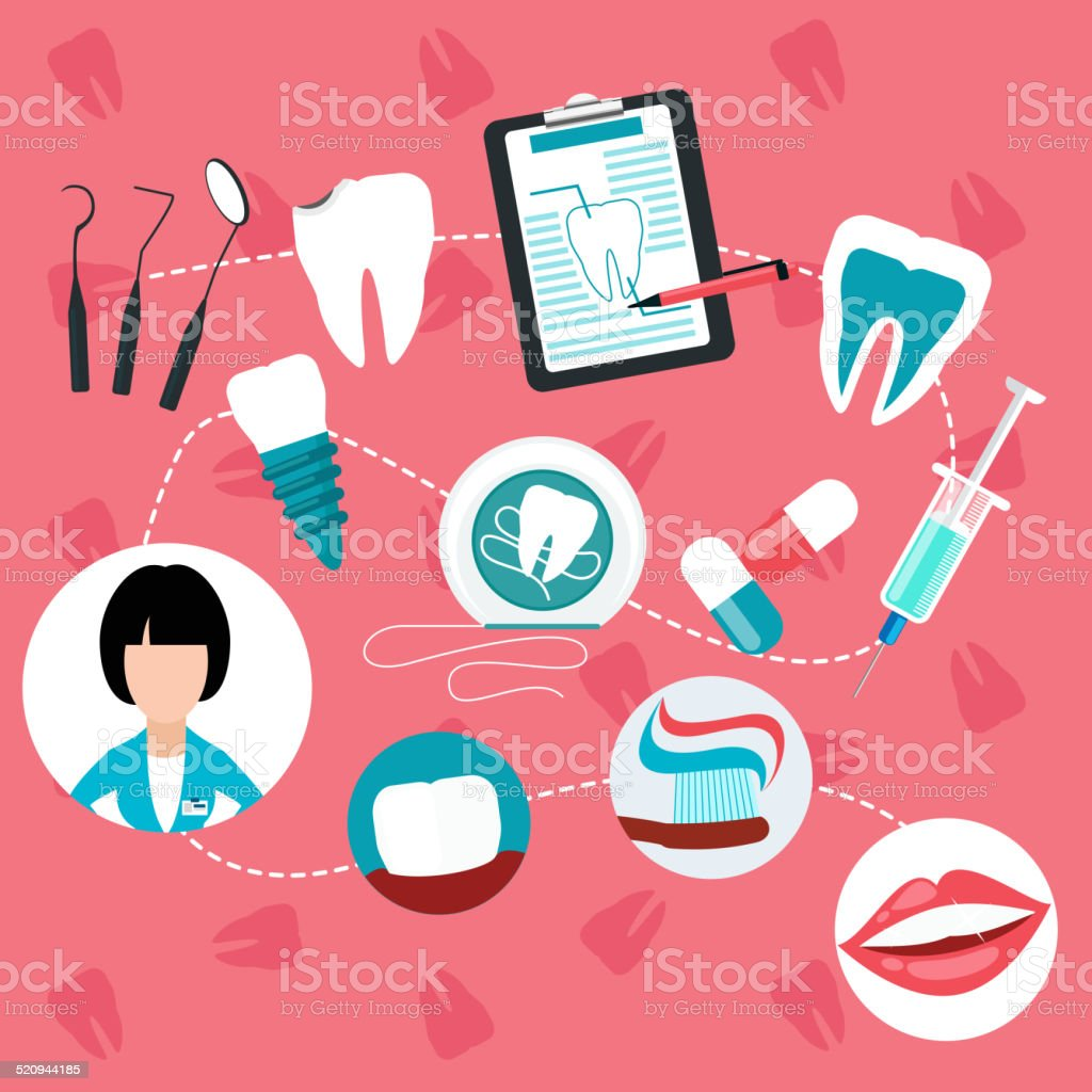 Dental treatment and teeth helth infographic vector art illustration