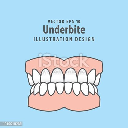 istock Dental underbite teeth illustration vector design on blue background. Dental care concept. 1219019235