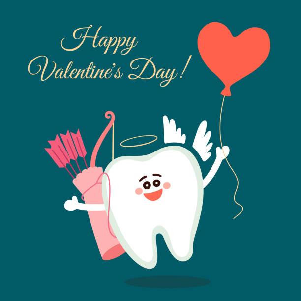 bildbanksillustrationer, clip art samt tecknat material och ikoner med dental valentine kort. cartoon tand cupid med båge, pilar och ballong hjärta - molar