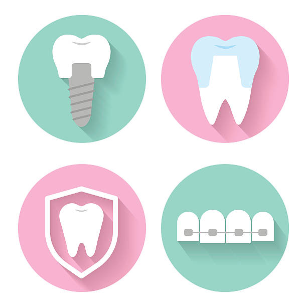 dental vector icons - orthodontist stock illustrations, clip art, cartoons, & icons