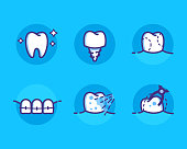 Health Dent Logo design vector template flat line style. Dental icons set, teeths with different dental deseases. Cosmetic dental dentistry. Dental clinic Logotype concept icon. Health tooth poster or card.