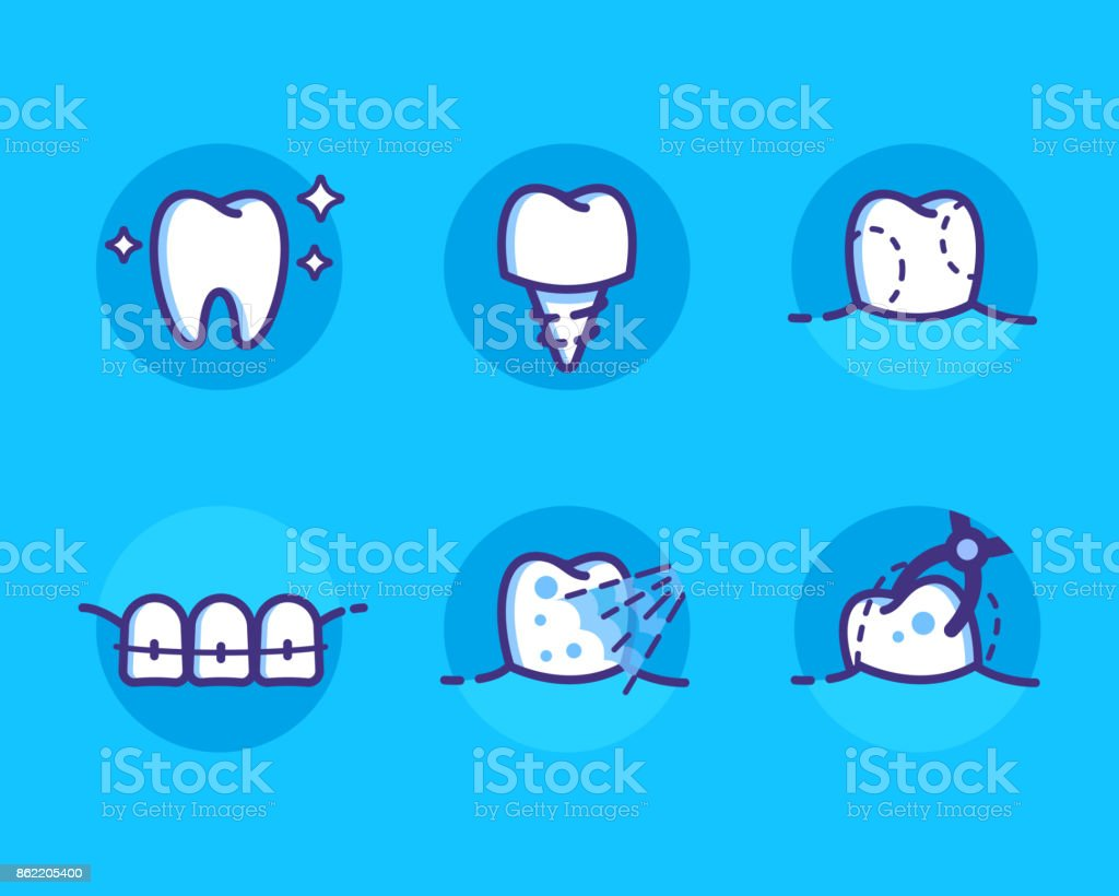 dental-iconos - ilustración de arte vectorial