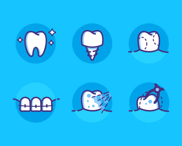 illustrazioni stock, clip art, cartoni animati e icone di tendenza di dental-icons - denti