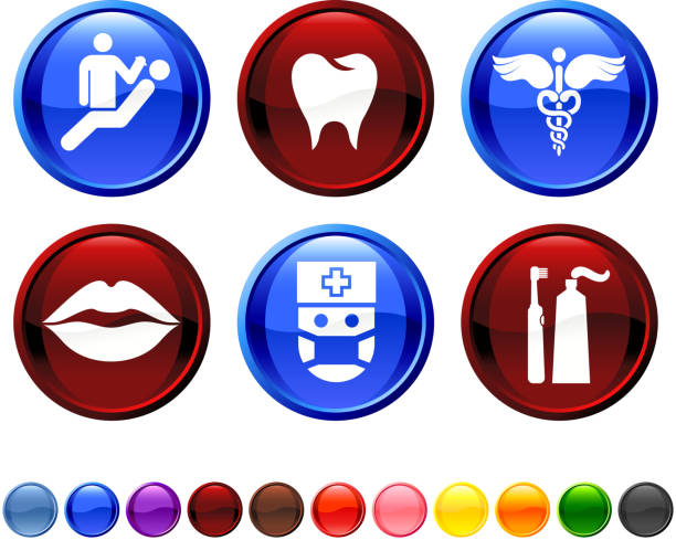 Dentist and dental care royalty free vector icon set  human jaw bone stock illustrations