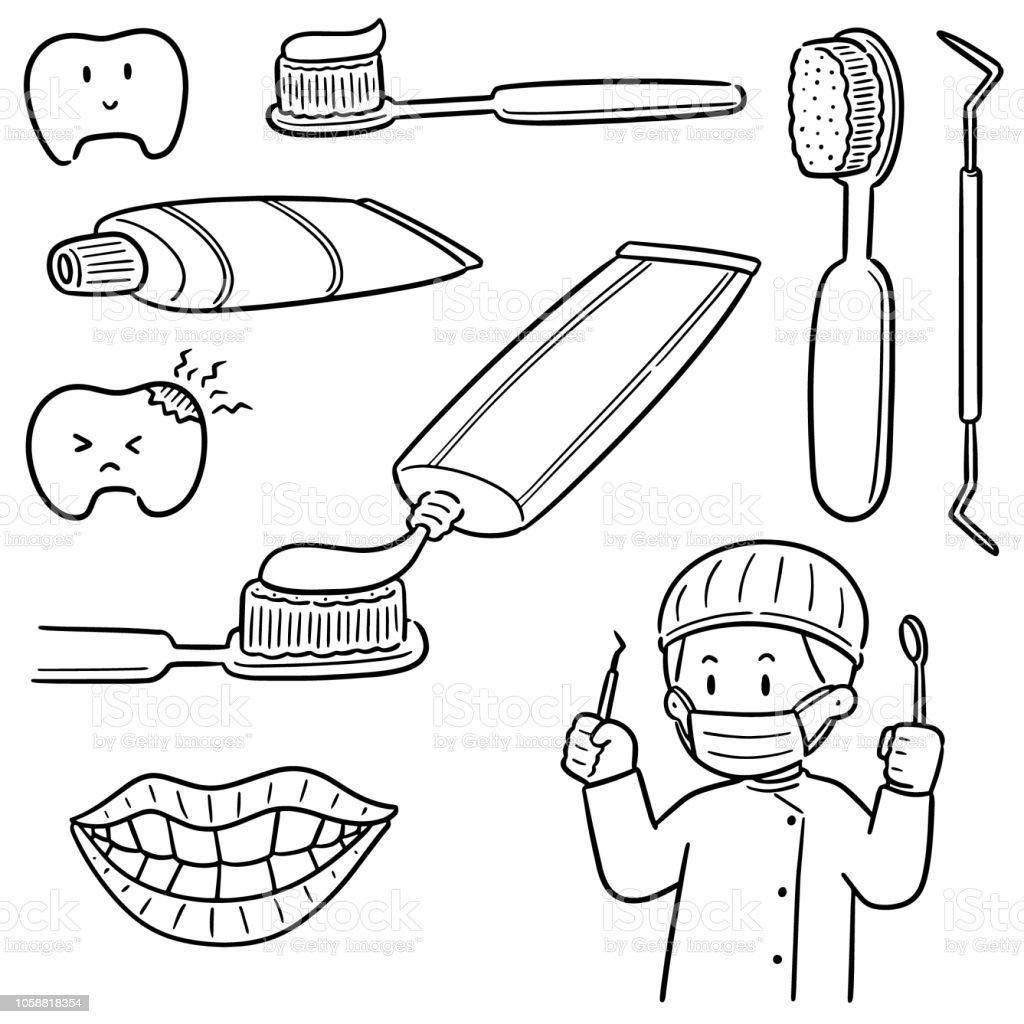 Zahnarzt und Dentalgeräte – Vektorgrafik