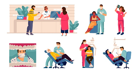 Dentist and patient. Cartoon scenes with tooth care, man in dental chair, mouth checkup and examination. Vector dentistry concept