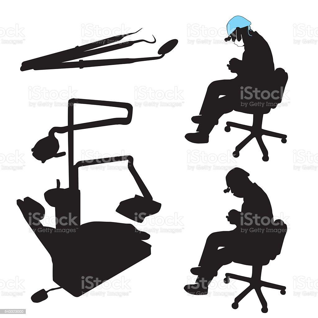 Dentist At Work vector art illustration