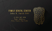 Dentist Business Card Template Black Gold Polygonal Tooth Design Copy Space