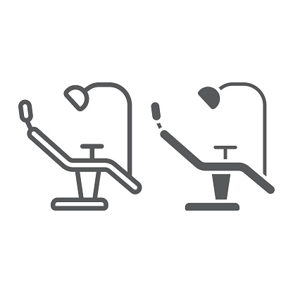 Dentist chair line and glyph icon, stomatology and dental, surgery sign vector graphics, a linear pattern on a white background, eps 10.