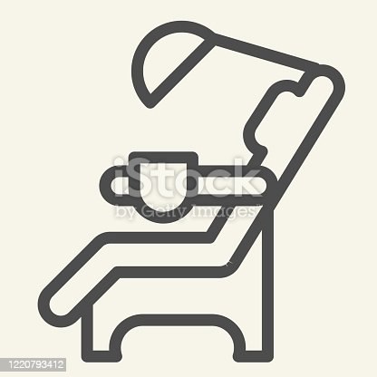 istock Dentist chair line icon. Medical dental armchair outline style pictogram on white background. Dental care equipment signs for mobile concept and web design. Vector graphics. 1220793412