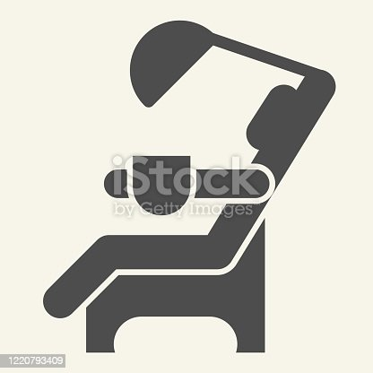 istock Dentist chair solid icon. Medical dental armchair glyph style pictogram on white background. Dental care equipment signs for mobile concept and web design. Vector graphics. 1220793409
