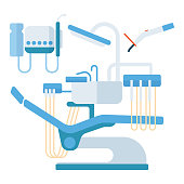 Flat health care dentist symbols and research medical yools. Healthcare system concept. Medicine instrument and hygiene stomatology engineering symbols.
