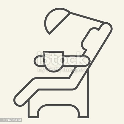 istock Dentist chair thin line icon. Medical dental armchair outline style pictogram on white background. Dental care equipment signs for mobile concept and web design. Vector graphics. 1220793413