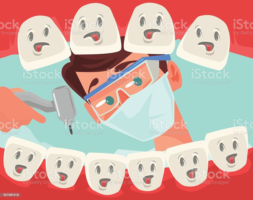 Dentist character looking into open mouth of patient vector art illustration