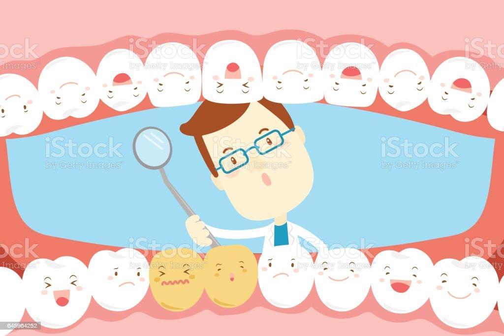 dentist check tooth vector art illustration