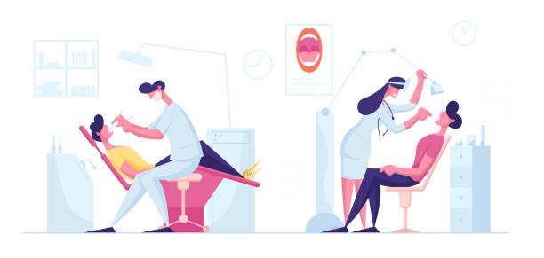 stockillustraties, clipart, cartoons en iconen met tandarts check up of behandeling procedure. mens die in medische stoel in stomatoloogkabinet met materiaal ligt. mannelijke en vrouwelijke artsen die tanden caries uitvoeren behandelend beeldverhaal vlakke vectorillustratie - streptococcus mutans