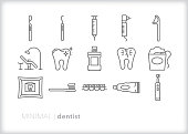 Set of 15 dentist line icons for objects and tools for an annual dental cleaning, filling a cavity or other procedures for kids and adults