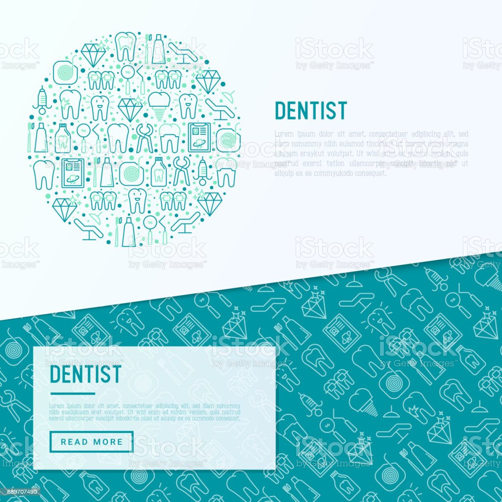 Dentist concept in circle with thin line icons of tooth, implant, dental floss, crown, toothpaste, medical equipment. Modern vector illustration for banner, web page, print media. vector art illustration