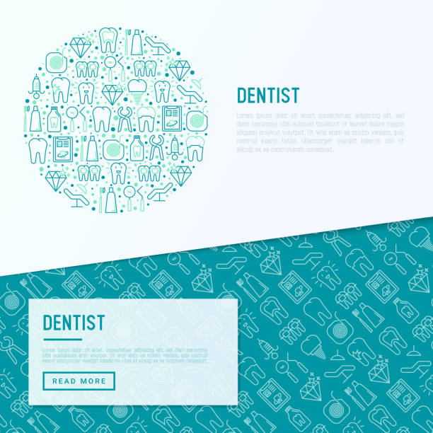 dentist concept in circle with thin line icons of tooth, implant, dental floss, crown, toothpaste, medical equipment. modern vector illustration for banner, web page, print media. - dentist stock illustrations, clip art, cartoons, & icons