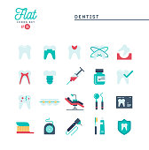 Dentist, dental care, healthy teeth, protection and more, flat icons set