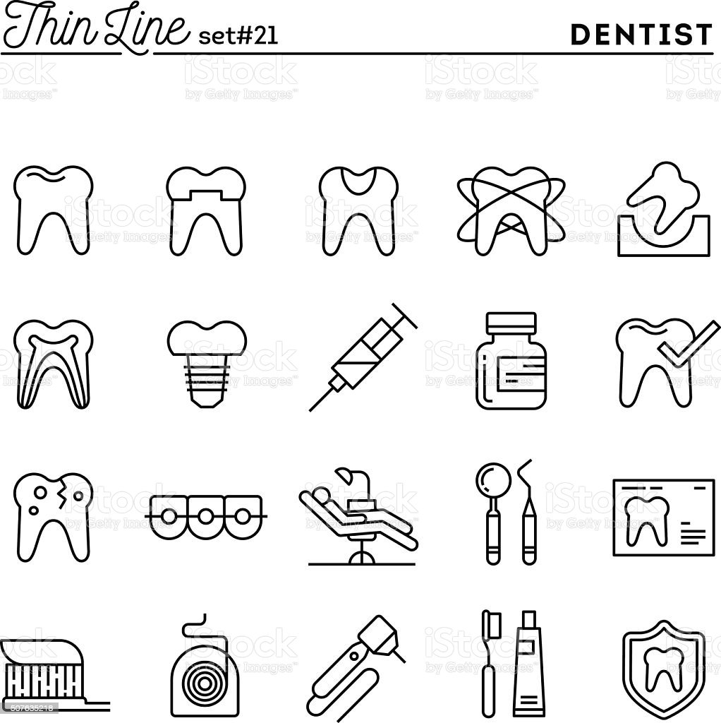 Dentist, dental care, healthy teeth, protection and more vector art illustration