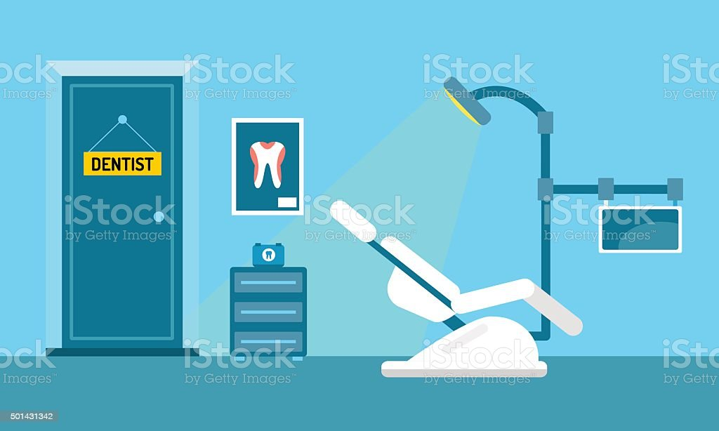 Dentist doctors office and patient with toothache vector vector art illustration