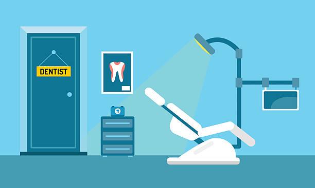 bildbanksillustrationer, clip art samt tecknat material och ikoner med dentist doctors office and patient with toothache vector - tandläkare