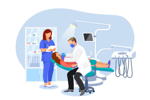dentist examines patient in dentist chair. woman visits orthodontist at modern dental clinic. vector flat illustration - dentist stock illustrations