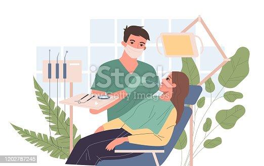 istock Dentist examining patient teeth 1202787245