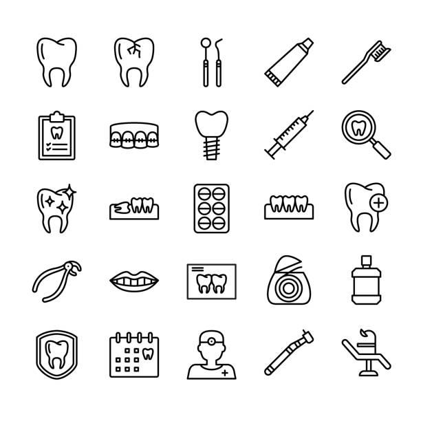 zahnarzt-icon-set - zähne putzen stock-grafiken, -clipart, -cartoons und -symbole
