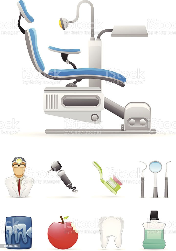 Dentist Icon Set vector art illustration