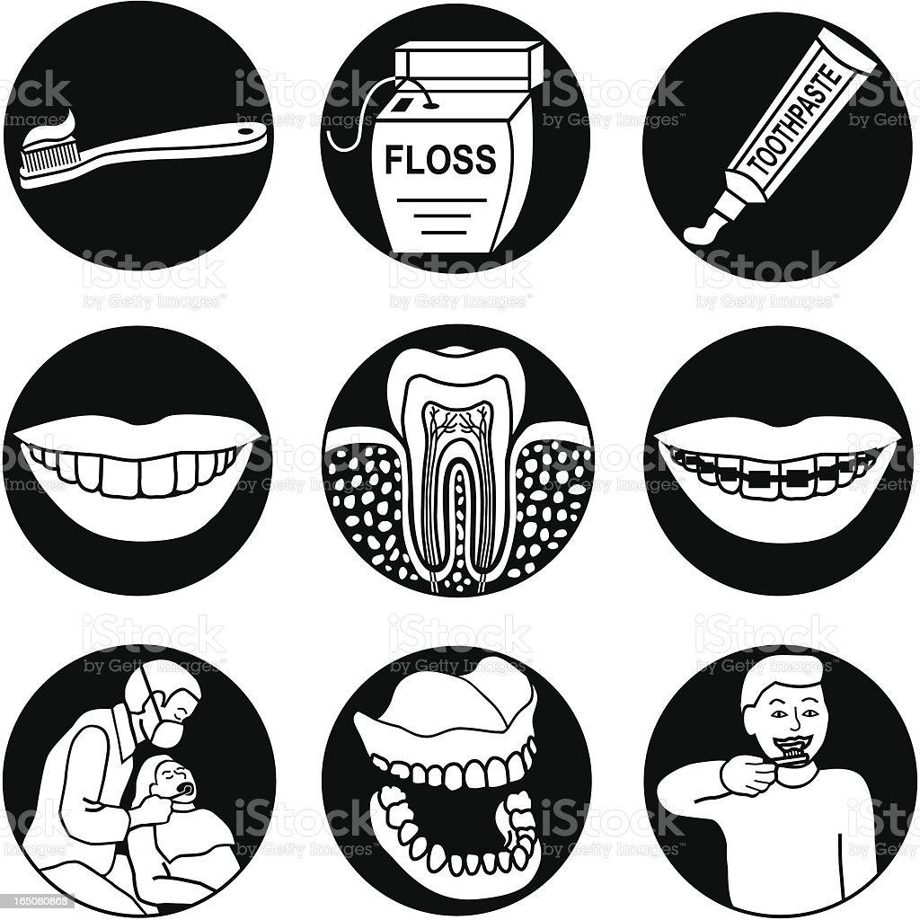 dentist icons reversed royalty-free stock vector art