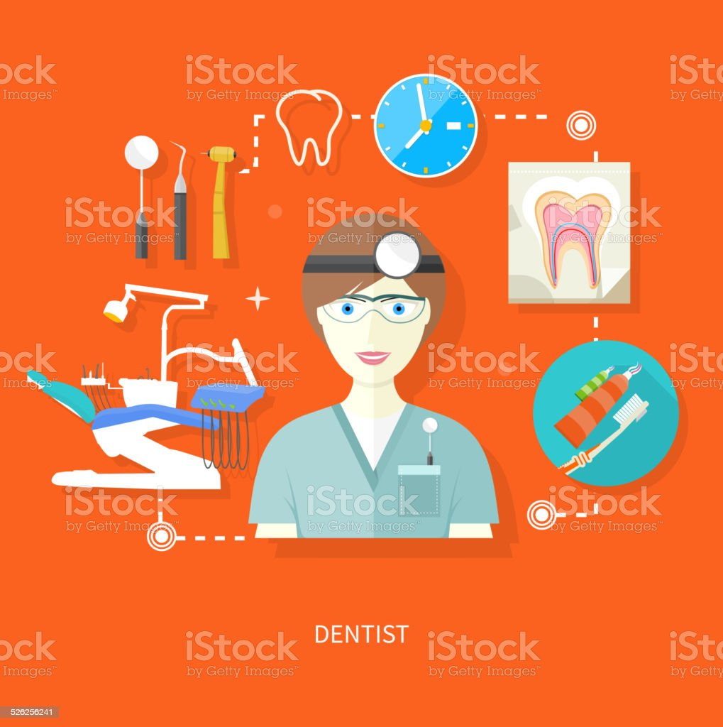 Dentist in uniform with instrument on workplace vector art illustration
