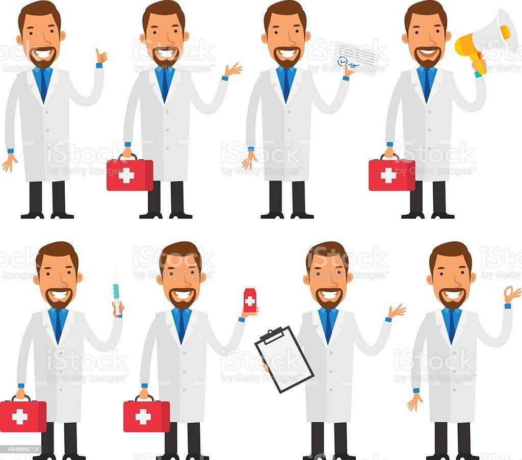 Dentist in various poses vector art illustration