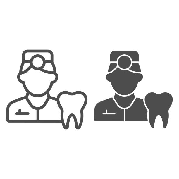 Dentist line and solid icon. Tooth picture and doctor symbol, outline style pictogram on white background. Dentistry sign for mobile concept and web design. Vector graphics. Dentist line and solid icon. Tooth picture and doctor symbol, outline style pictogram on white background. Dentistry sign for mobile concept and web design. Vector graphics one man only stock illustrations
