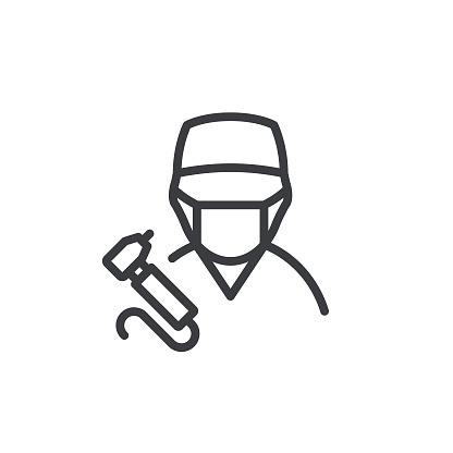 Dentist Line Icon Editable Stroke