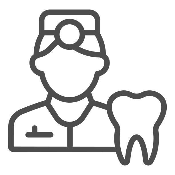bildbanksillustrationer, clip art samt tecknat material och ikoner med ikon för tandläkarlinjen. tandbild och läkare symbol, kontur stil piktogram på vit bakgrund. tandvårdsskylt för mobilt koncept och webbdesign. vektorgrafik. - endast en man
