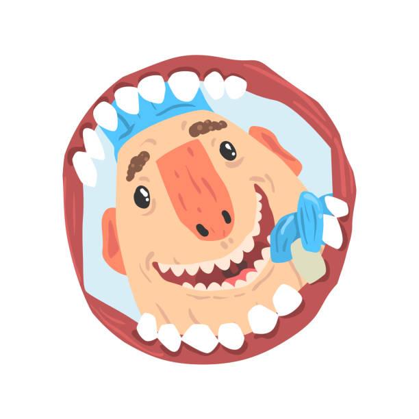 illustrazioni stock, clip art, cartoni animati e icone di tendenza di dentist looking into open mouth of patient cartoon character vector illustration - smile woman open mouth