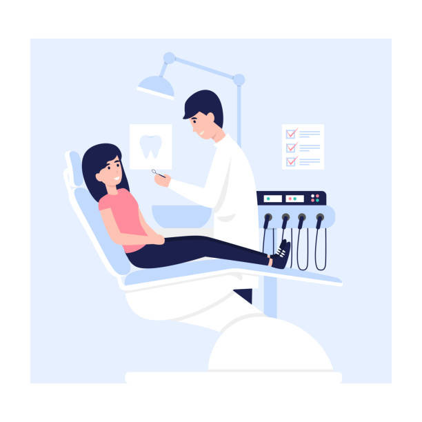 dentist man and woman patient at clinic Woman sits in a dental chair in the hospital office. Young doctor man and female patient medicine care teeth flat vector concept illustration. dentist stock illustrations